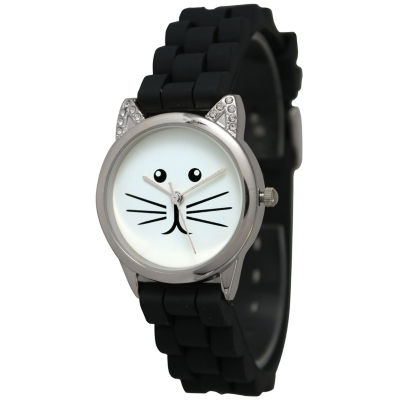 Olivia Pratt Womens Silver-Tone White With Black Cat Face Dial Black Silicone Strap Watch 13586