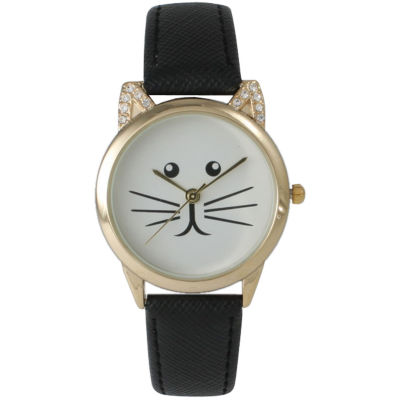 Olivia Pratt Womens Gold-Tone White With Black Cat Face Dial Black Leather Strap Watch 13586L