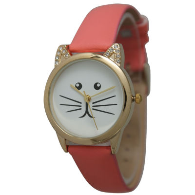 Olivia Pratt Womens Gold-Tone White With Black Cat Face Dial Coral Leather Strap Watch 13586L