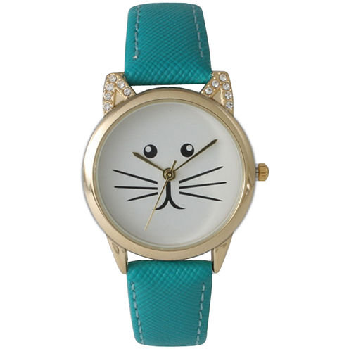 Olivia Pratt Womens Gold-Tone White With Black Cat Face Dial Teal Leather Strap Watch 13586L