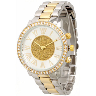 Olivia Pratt Womens Rhinestone Accent Two-Tone Bracelet Watch 13839
