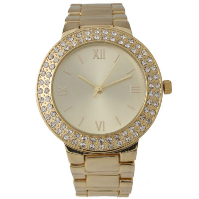 Olivia Pratt Womens Rhinestone Accent Gold-Tone Bracelet Watch 14066