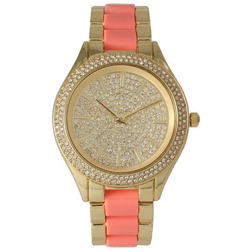 Olivia Pratt Womens Rhinestone Bezel Rhinestone Dial Gold Coral Two Tone Bracelet Watch 15295