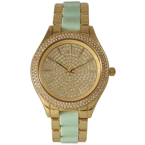Olivia Pratt Womens Rhinestone Bezel Rhinestone Dial Gold Mint Two Tone Bracelet Watch 15295