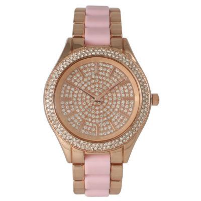 Olivia Pratt Womens Rhinestone Bezel Rhinestone Dial Rose Pink Two Tone Bracelet Watch 15295
