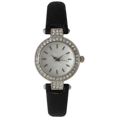 Olivia Pratt Womens Rhinestone Bezel Petite Black Leather Watch 14829