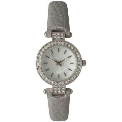 Olivia Pratt Womens Rhinestone Bezel Petite Gray Leather Watch 14829