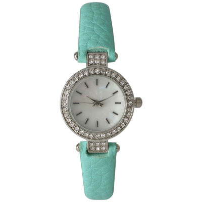 Olivia Pratt Womens Rhinestone Bezel Petite Mint Leather Watch 14829