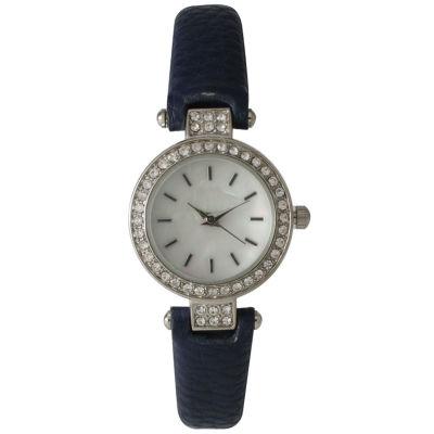 Olivia Pratt Womens Rhinestone Bezel Petite Navy Leather Watch 14829