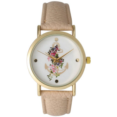 Olivia Pratt Womens Floral Anchor Dial Beige Leather Watch 15004