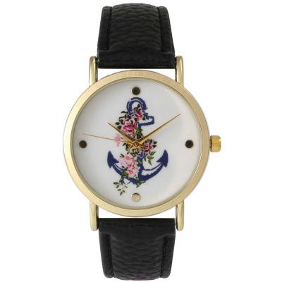 Olivia Pratt Womens Floral Anchor Dial Black Leather Watch 15004