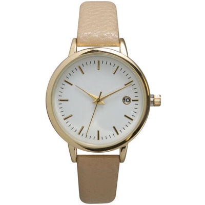 Olivia Pratt Womens Date Display Dial Beige Leather Watch 15421
