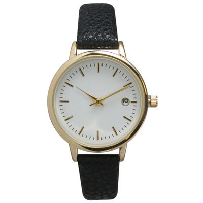 Olivia Pratt Womens Date Display Dial Black Leather Watch 15421