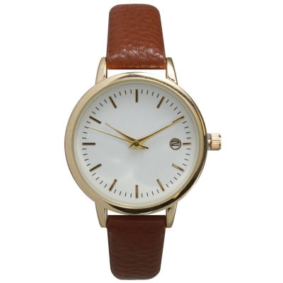 Olivia Pratt Womens Date Display Dial Brown Leather Watch 15421