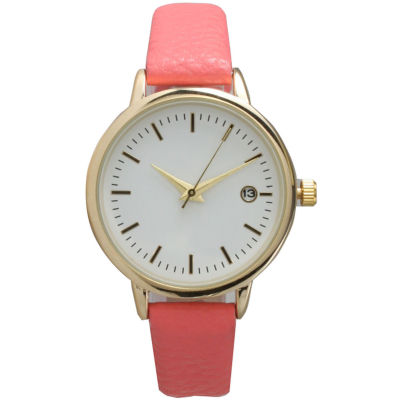 Olivia Pratt Womens Date Display Dial Coral Leather Watch 15421