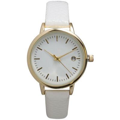 Olivia Pratt Womens Date Display Dial White Leather Watch 15421