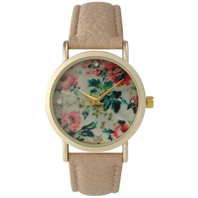 Olivia Pratt Womens Floral Dial Blush Strap Watch 14977