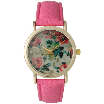 Olivia Pratt Womens Floral Rhinestone Accent Dial Bubble Pink Leather Watch 14977