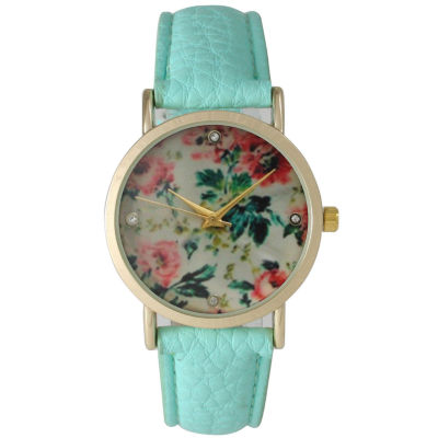Olivia Pratt Womens Floral Rhinestone Accent Dial Mint Leather Watch 14977