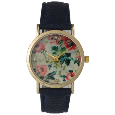 Olivia Pratt Womens Floral Rhinestone Accent Dial Navy Leather Watch 14977