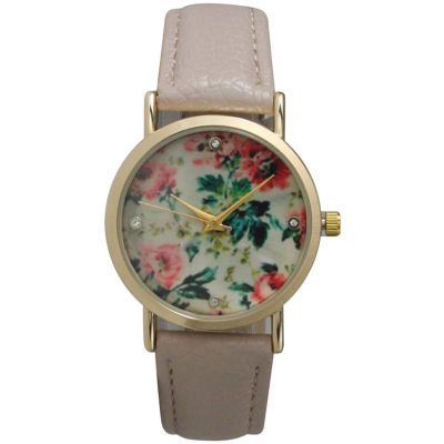 Olivia Pratt Womens Floral Rhinestone Accent Dial Taupe Leather Watch 14977