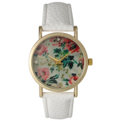 Olivia Pratt Womens Floral Rhinestone Accent Dial White Leather Watch 14977