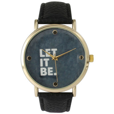 Olivia Pratt Women's 'Let It Be' Dial Black Leather Watch 14720