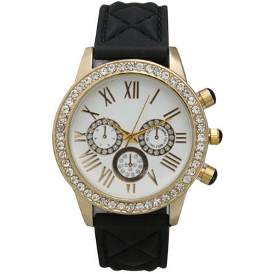 Olivia Pratt Womens Rhinestone Bezel Decorative Dial Black Quilted Leather Watch 15334
