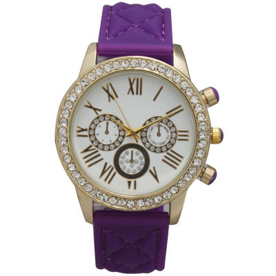 Olivia Pratt Womens Rhinestone Bezel Decorative Dial Purple Quilted Leather Watch 15334