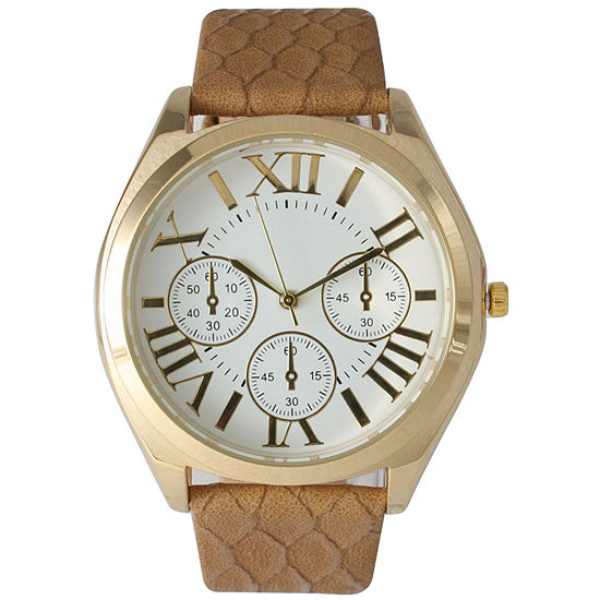 Olivia Pratt Womens Decorative Chronograph Dial Beige Croc-Embossed Leather Watch 26328