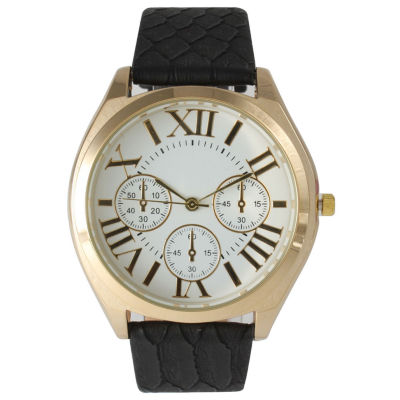 Olivia Pratt Womens Decorative Chronograph Dial Black Croc-Embossed Leather Watch 26328