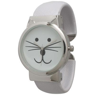 Olivia Pratt Womens Tomcat Dial White Leather Cuff Watch 13895