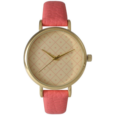 Olivia Pratt Womens Checkered Dial Coral Petite Leather Watch 14543