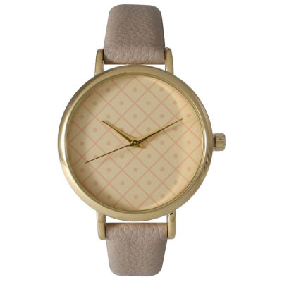 Olivia Pratt Womens Checkered Dial Gray Petite Leather Watch 14543