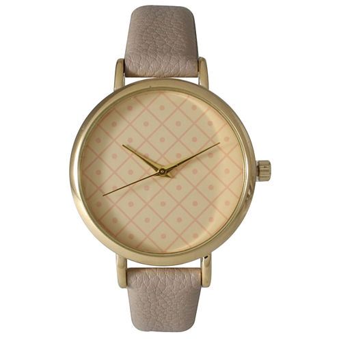 Olivia Pratt Womens Checkered Dial Gray Petite Leather Watch 14543