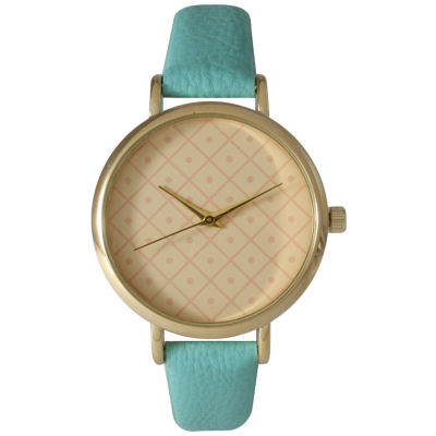 Olivia Pratt Womens Checkered Dial Mint Petite Leather Watch 14543