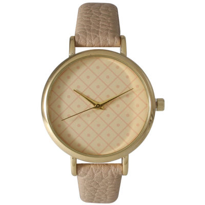 Olivia Pratt Womens Checkered Dial Taupe Petite Leather Watch 14543