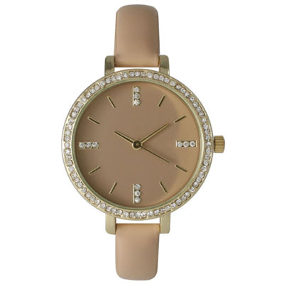 Olivia Pratt Womens Rhinestone Bezel Rhinestone Dial Beige Leather Watch 15321