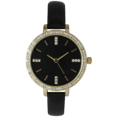 Olivia Pratt Womens Rhinestone Bezel Rhinestone Dial Black Leather Watch 15321