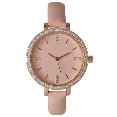Olivia Pratt Womens Rhinestone Bezel Rhinestone Dial Light Pink Leather Watch 15321