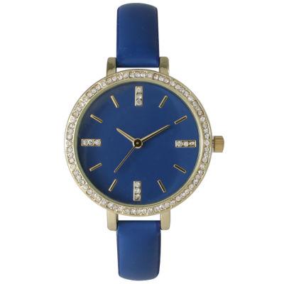 Olivia Pratt Womens Rhinestone Bezel Rhinestone Dial Royal Leather Watch 15321