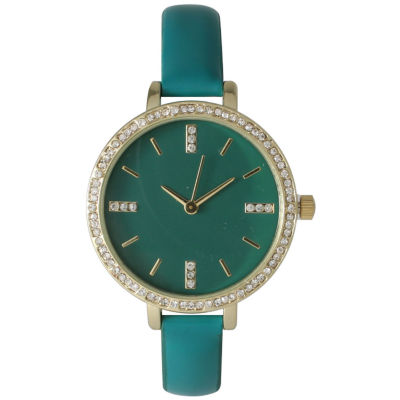 Olivia Pratt Womens Rhinestone Bezel Rhinestone Dial Teal Leather Watch 15321