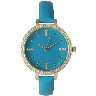 Olivia Pratt Womens Rhinestone Bezel Rhinestone Dial Turquoise Leather Watch 15321