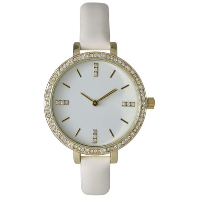 Olivia Pratt Womens Rhinestone Bezel Rhinestone Dial White Leather Watch 15321