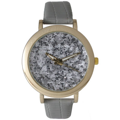 Olivia Pratt Womens Colored Metallic Stone Dial Gray Leather Watch 26359