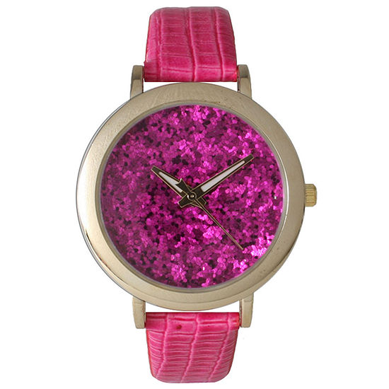 Olivia Pratt Womens Colored Metallic Stone Dial Hot Pink Leather Watch 26359Hot Pink