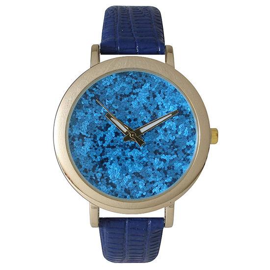 Olivia Pratt Womens Colored Metallic Stone Dial Royal Leather Watch 26359Royal
