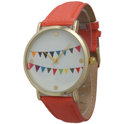 Olivia Pratt Womens Multi-Colored Flags Dial Coral Leather Watch 14226Coral