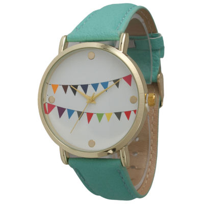 Olivia Pratt Womens Multi-Colored Flags Dial Mint Leather Watch 14226Mint