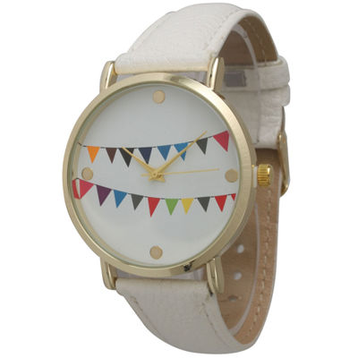 Olivia Pratt Womens Multi-Colored Flags Dial White Leather Watch 14226White